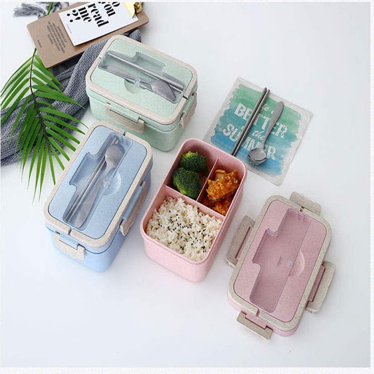 Bento Box Nat/ürliche Weizensicherheit Lunchbox rose auslaufsicher L/öffel f/ür Kinder und Erwachsene mikrowellengeeignet Lebensmittelaufbewahrungsbeh/älter mit Essst/äbchen 1000 ml