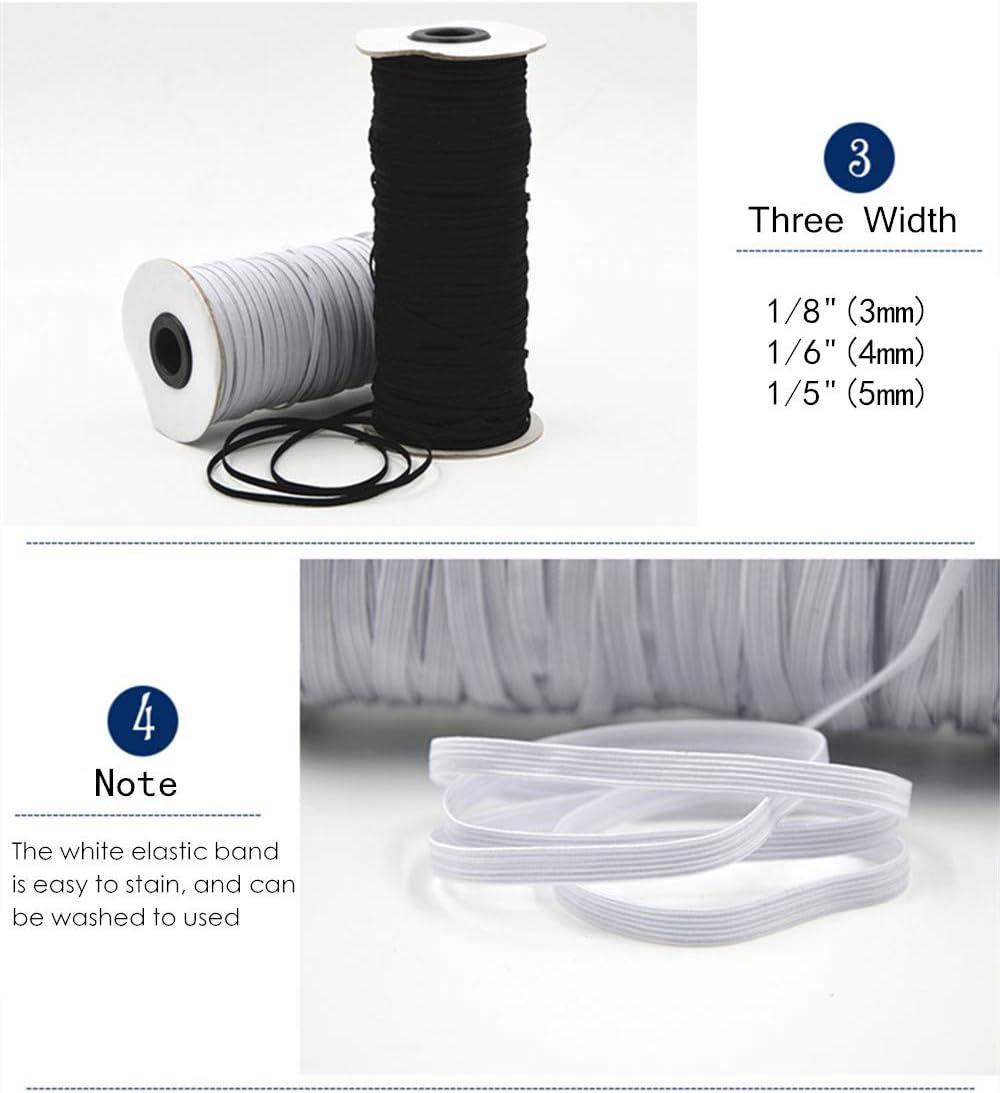 Cuffs 100 Yards Length 1//4 Inch Elastic Bands Cord Stretch Width Braided Crafts Elastic Rope Heavy Stretch High Elasticity Knit String Cord for Sewing Crafts DIY 6mm Bedspread Black, 1//4 Inch