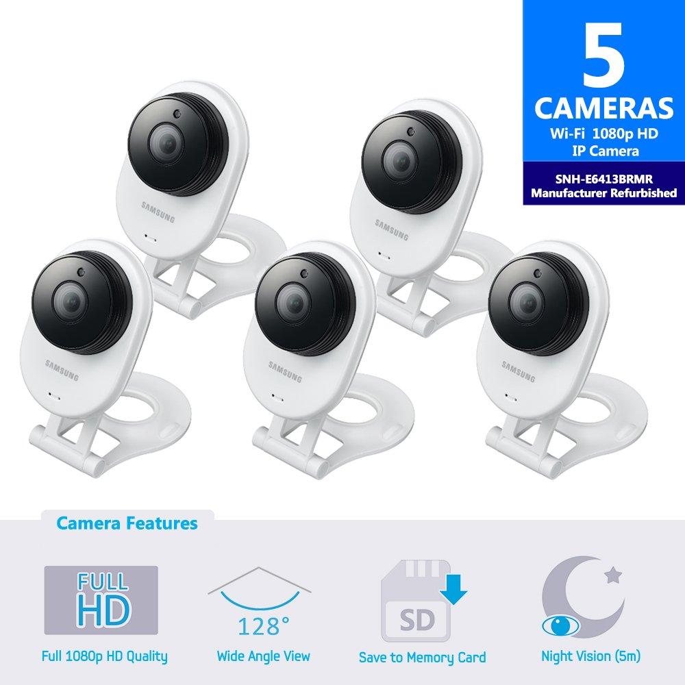 Samsung SNH-E6413BMR SmartCam HD WiFi IP Camera with 16GB microSD Card (Manufacturer Refurbished) Bundle Five Pack