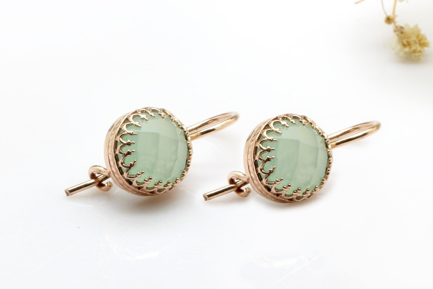rose gold earrings, small stone earrings, aqua earrings, chalcedony earrings, Christmas gift, bridal earrings