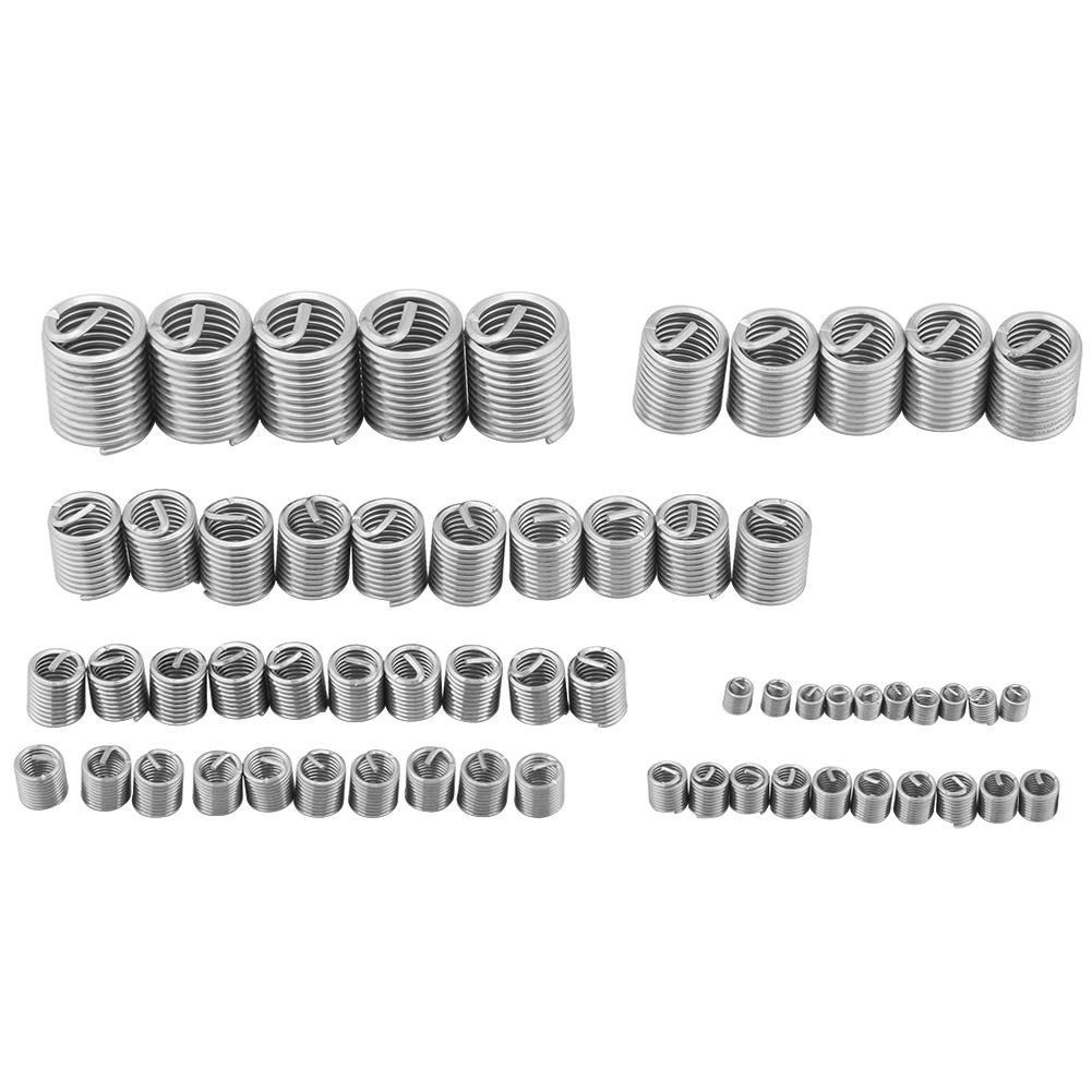 Akozon Stainless Steel Wire Thread InsertsThread Repair Kit, 60pcs Stainless Steel M3 M4 M5 M6 M8 M10 M12 Helicoil Type Coiled Wire Screw Wire Sleeve Thread Repair Insert Assortment