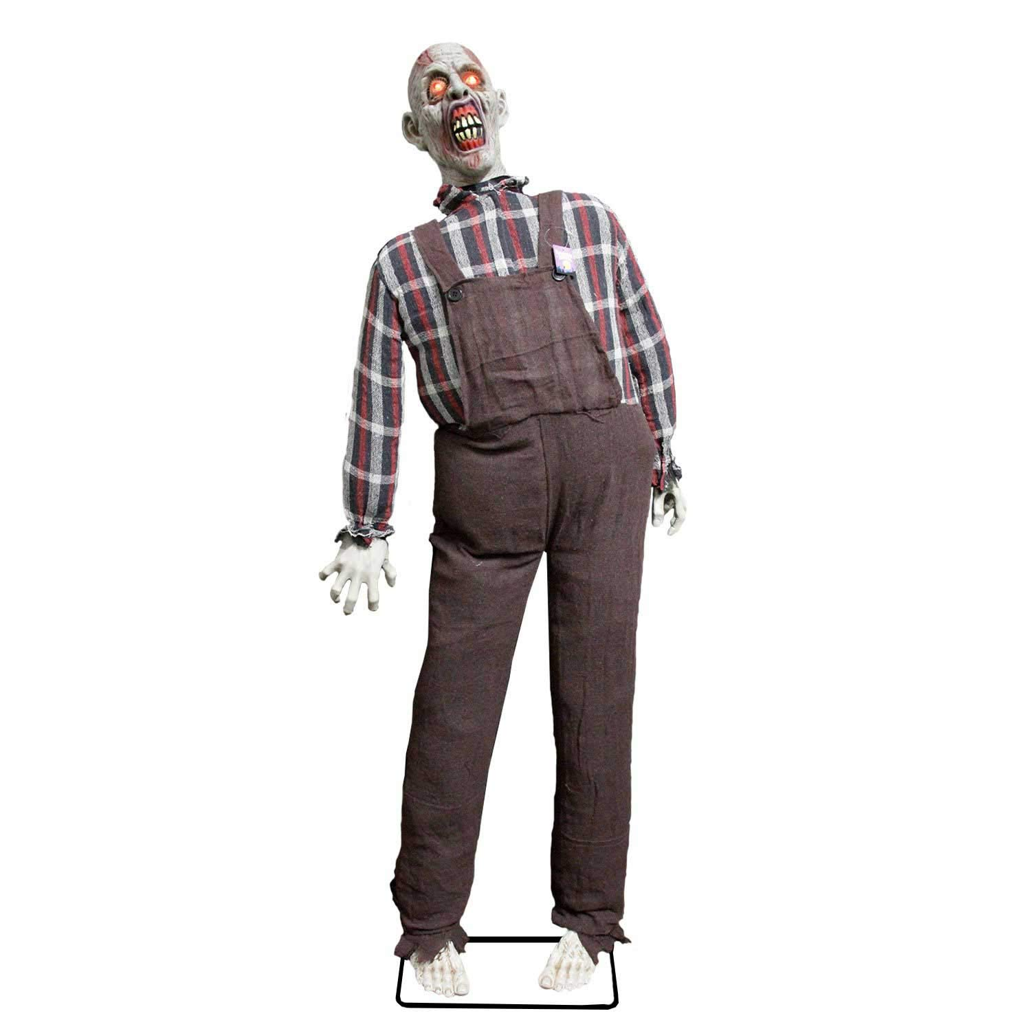 Halloween Haunters Life Size Stand Up Speaking Farmer Zombie Animated Rocking Moving Torso Prop Decoration with Red Light Up Eyes - Screams Brains, Dead Body Corpse - Haunted House Graveyard, Entryway by Halloween Haunters