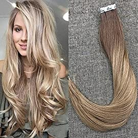 Full Shine Tape in Hair Extensions Short Hair Color 1B Off Black Fading to 18 Ash Blonde 12 Inch 30 Grams Per Pack 20…