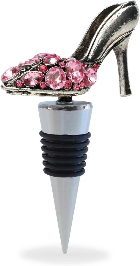 Cheers High Heel Shoe Metal Wine Stopper - Elegant Vacuum Seal Reusable Cute Lady's Shoe Wine Bottle Stopper, Airtight Leak Proof Bottle Topper Cork Plug, Cute Home Decor & Bar Tool Accessory Gift