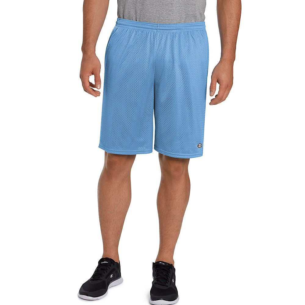 Champion Mens Lightweight Breathable Tricot Lining Long Mesh Shorts with Pockets