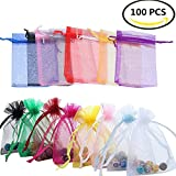 Sheer Organza Bags,Smozer 100pcs 4x6 inch Sheer Organza Wedding Party Favor Gift Jewelry Beads Candy Pouch Bag (Mix Color)