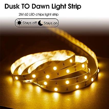 Lohas Dusk To Dawn Light Sensor Strip Light Stick On Led Light Strip 16 4 Ft Brightness 12w 80w Equivalent Soft White 3000k Led Lights 800 Lumen