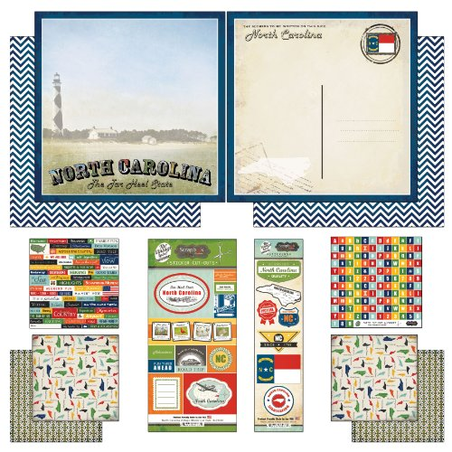 Scrapbook Customs Themed Paper and Stickers Scrapbook Kit, North Carolina Vintage