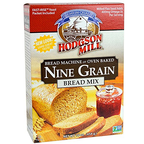 Hodgson Mill Nine Grain Bread Mix 16-Ounce Boxes (Pack of 6), Bread Mix for Bread Machines or Oven Baked Bread, Yeast Included