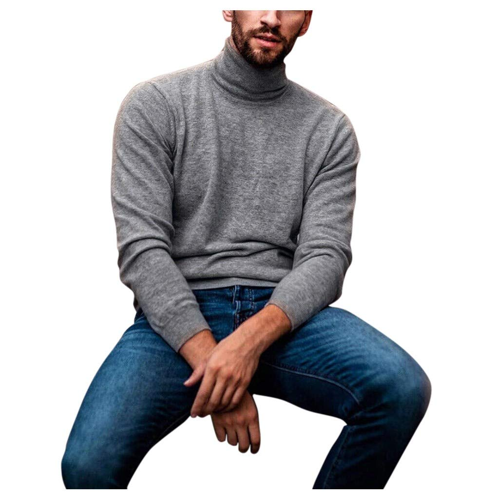 Mens Slim Fit Basic Thermal Turtleneck T Shirts Casual Knitted Pullover Sweaters Solid Tops