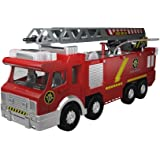 Fire Truck Engine with Adjustable Ladder, Water Pump (Shooting Squirting Water), Light/Sound by MOTA - Large