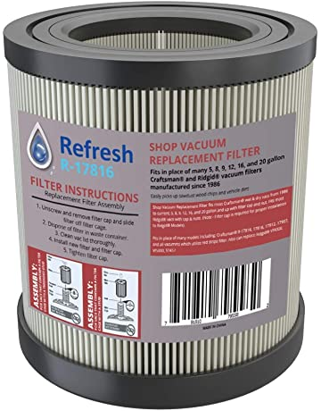 Refresh Replacement for Wet/Dry Shop Vac Air Filter model R17186 and Craftsman 17816 and