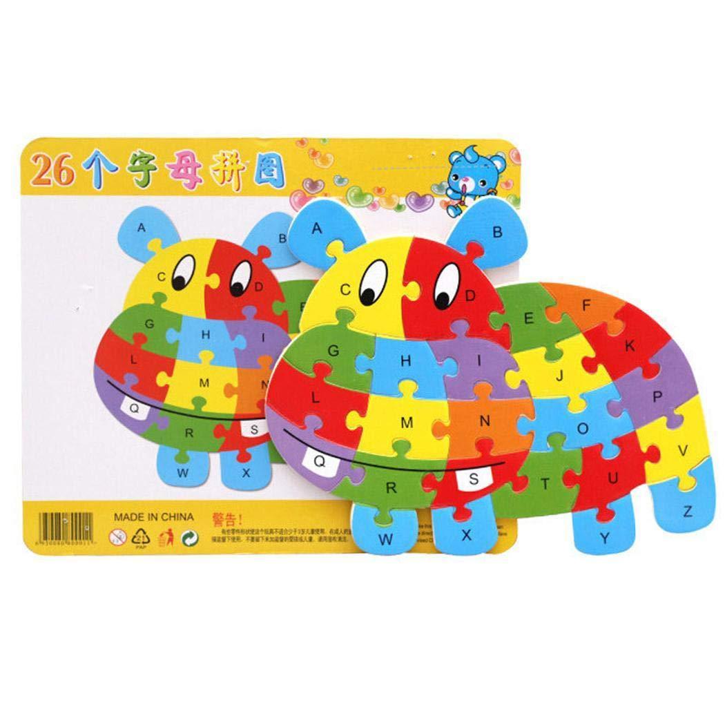 Cartoon Tier Puzzle Spielzeug Ceanfly 26 Alphabet Puzzle Fr/üherziehung Spielzeug Buchstaben Holz Puzzle,P/ädagogisches Spielzeug