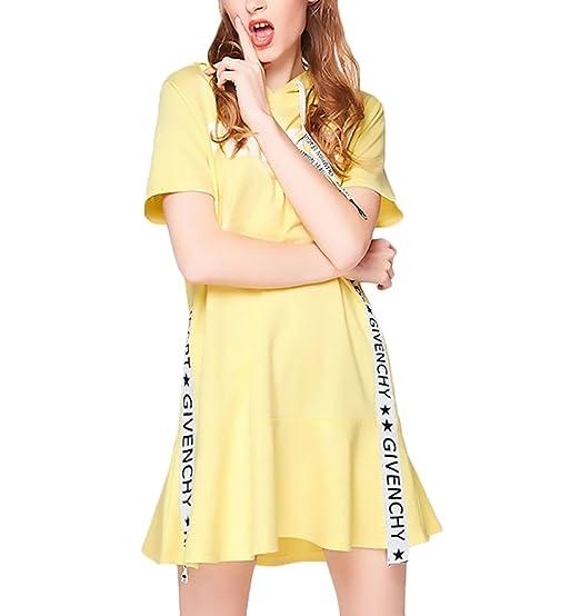 Vestidos Mujer Verano con Capucha Manga Corta Carta Impresión con Volantes Elegantes Jovenes Moda Casual Vestidos