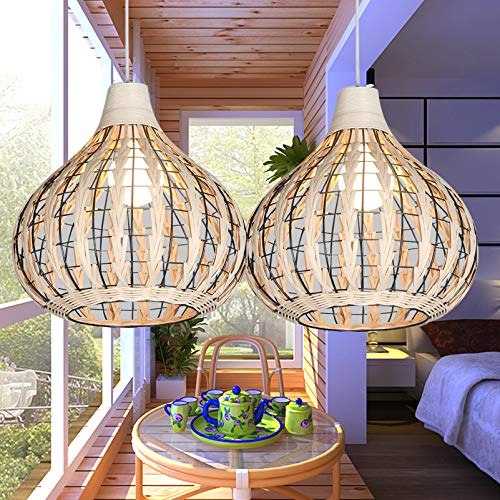 Bamboo Lantern Pendant Lamp, Retro Japanese Style E27 Chandelier Hanging Light Ceiling Lighting Fixture for Living Room…