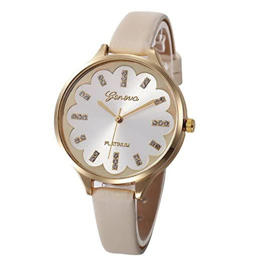 073734bf5 Ladies Dress Gift Watches Women Casual Checkers Faux Leather Quartz Analog  Wrist Watch (Beige)