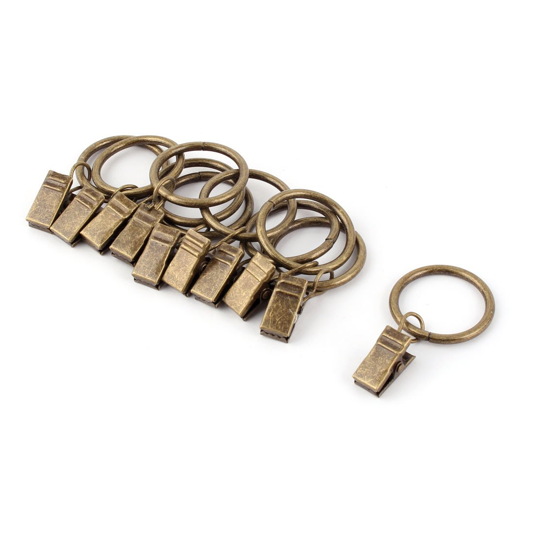 uxcell Stainless Steel Window Drapery Wire Rod Hook Curtain Clip Rings 25mm Dia 10pcs Bronze Tone US-SA-AJD-248492