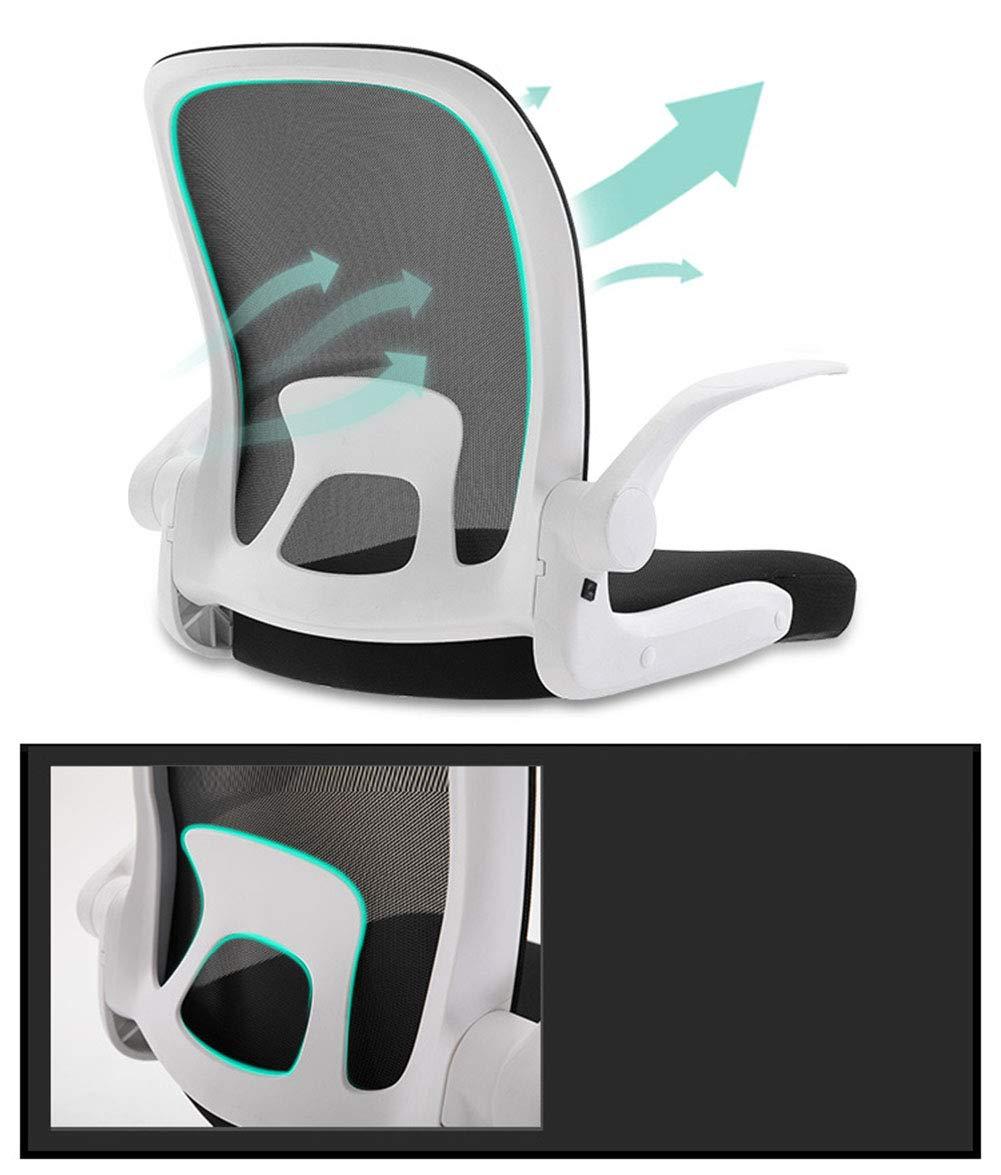 JFSKD Ergonomisk kontorsstol, spelstol, datorstol en del stol rygg, kan lyftas och roteras, tyst och halkfri Svart och vit Svart och grått