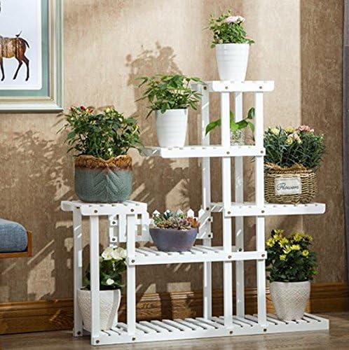 Estantes para plantas / estanteria jardin Soporte de flores Estantería Estante de la maceta de madera maciza de pie Multilayer Soporte de flores de madera blanco Estante Sala de estar balcón interior: