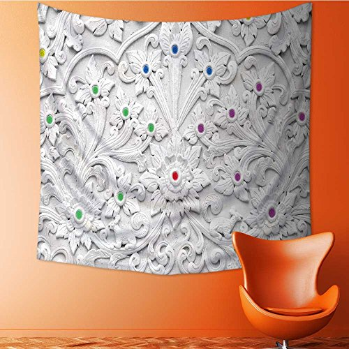 Muyindo Tapestry Wall Hanging Mysterious Tapestry white stucco design of native thai style on the wall Tapestry Art for Home Decor/27.5W x 27.5L INCH by Muyindo