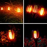 Solar Torch Lights Outdoor with Flickering Flame, OxyLED 4-Pack Waterproof Solar Path Light Landscape Decoration Lighting Dusk to Dawn Auto On/Off Security Torches Light for Patio Pathway Driveway
