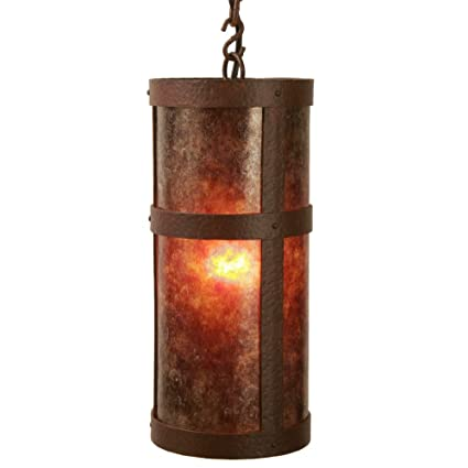 Steel Partners Lighting 7370-P-Open-AB PORTLAND OPEN Pendant with Amber Mica Lens Architectural Bronze Finish