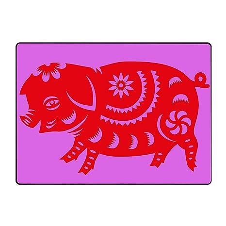 Amazon com : JONHBKD Red Paper Cut Pig Zodiac Sign Doormat