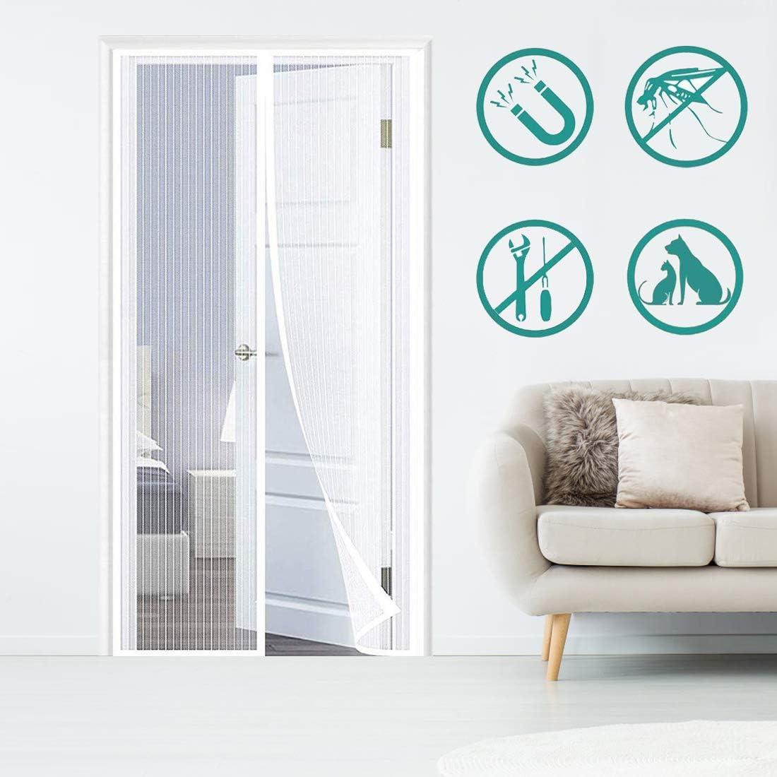 THAIKER Fliegengitter Magnet T/ür 35x83inch Magnetvorhang Insektenschutz Easy Install f/ür Balkont/ür Terrassent/ür Wohnzimmer 90x210cm Schwarz