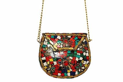winmaarc Metal cadena multicolor piedra de metal bolso de mano Monedero del embrague Monedero