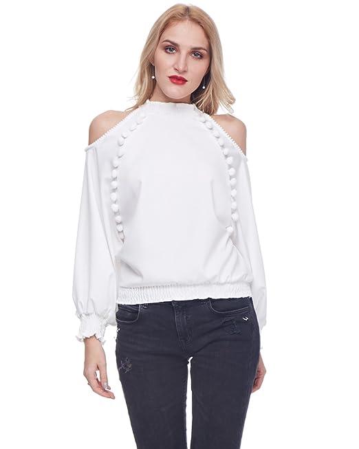 GAMISS Mujer Camisetas de Mangas Largas Blusas Hombros Descubiertos Blanco S