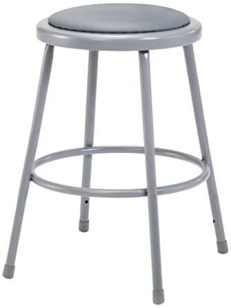 """National Public Seating 6424 Grey Steel Stool With 24"""" Vinyl Upholstered Seat by National Public Seating"""