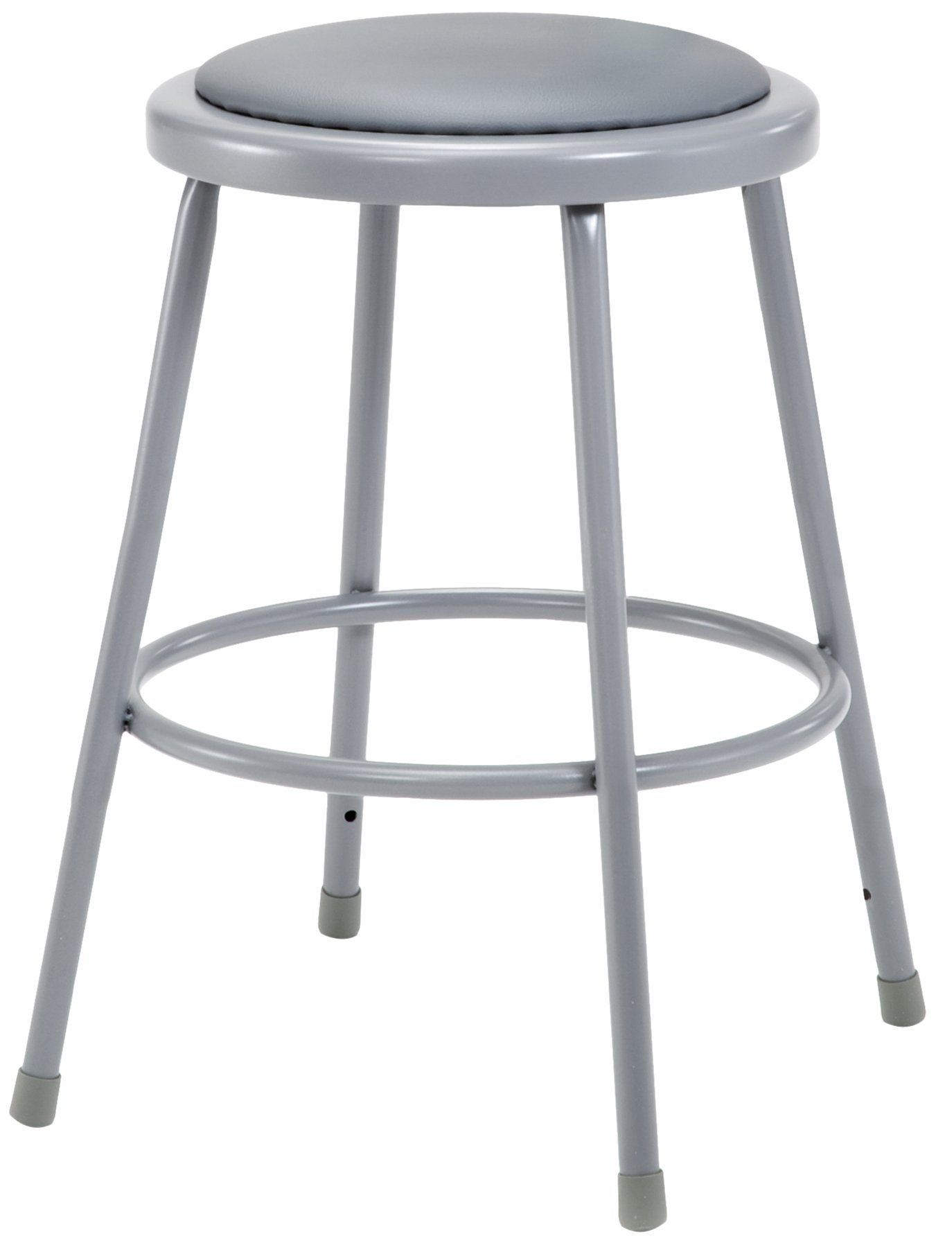 National Public Seating 6424-CN Steel Stool with 24'' Vinyl Upholstered Seat, Grey (Pack of 4)