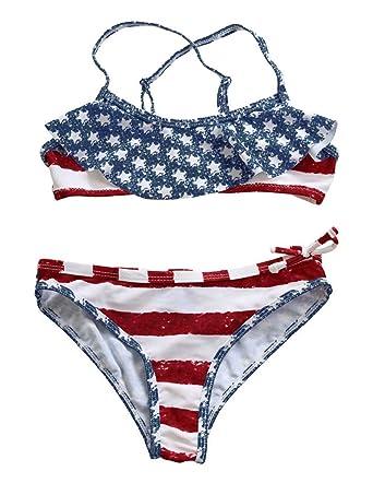 f7dc0628535 Amazon.com: EGELEXY Little Girls American Flag Stars Stripes Ruffle Bikini  Flounce Two Piece Swimsuit Bathing Suit: Clothing