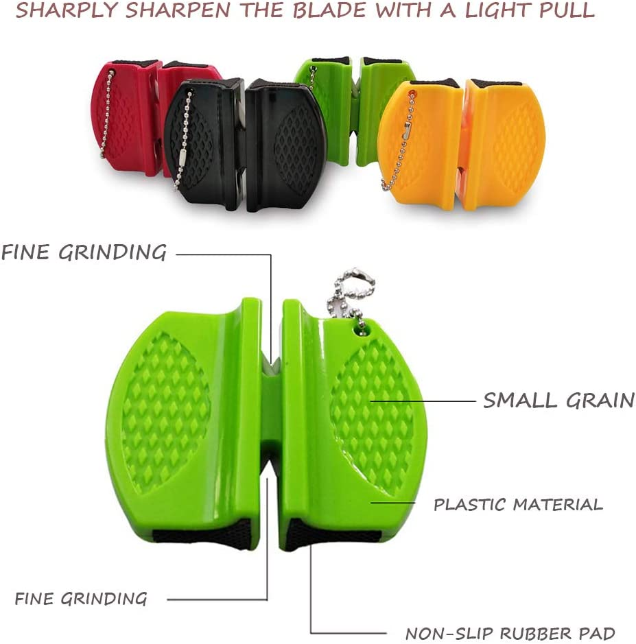 2 colori casuali) Affilacoltelli portatile da cucina 2PCS,Strumento per affilare i coltelli tascabile mini a 2 stadi 2 spessi e fini per alpinismo viaggi in campeggio o barbecue allaperto-