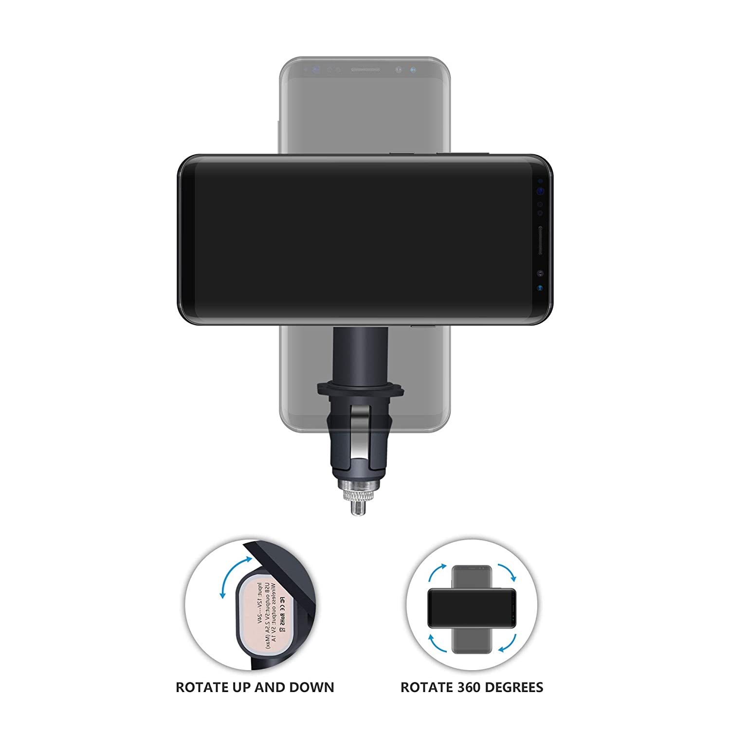 Qi Magnetic Wireless Charging Mount 180/° Adjustable Cordless Car Charging Cradle Car Charger+Smart Magnet VIEE Wireless Car Charger