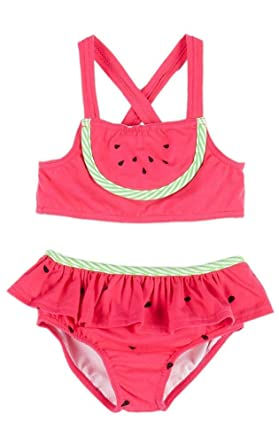 f65fe6c601bfa Le Top Little Girls' WATERMELON CUTIE Pink Lime Skirted Ruffle 2-pc Swimsuit  (