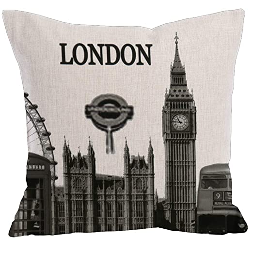 Algodón Lino Londres Funda de Almohada, Pillowcase 45 * 45CM ...