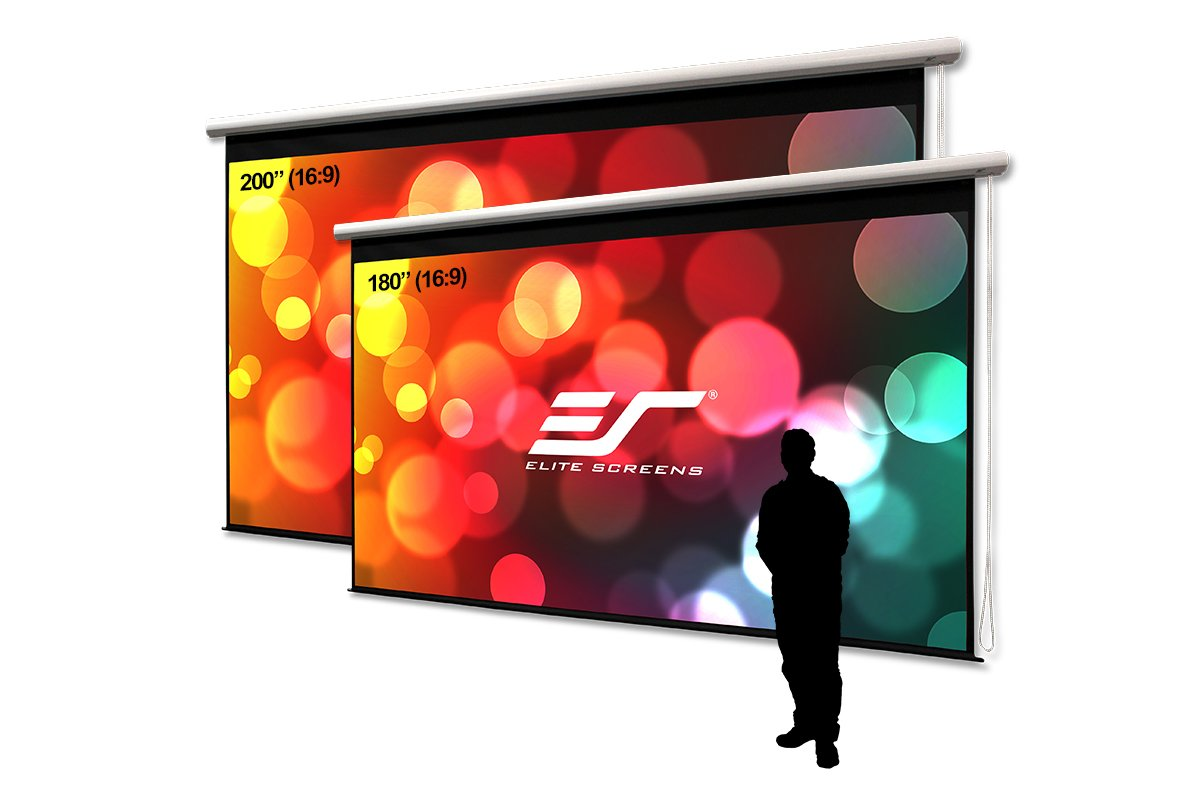 Pull Down Manual Projector Screen with AUTO LOCK M150XWH2 150-INCH 16:9 2-YEAR WARRANTY Movie Home Theater 8K // 4K Ultra HD 3D Ready Elite Screens Manual Series