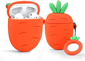 LEWOTE Airpods Silicone Case Funny Cute Cover Compatible for Apple Airpods 1&2[Fruit and Vegetable Series][Best Gift for Girls or Couples] (Carrot)