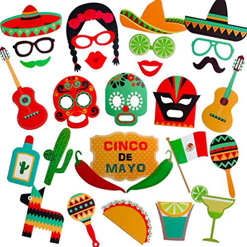 Mexican Fiesta Photo Booth Props Kit Cinco De Mayo Fiesta Photo Stick Props - 29 Count]()