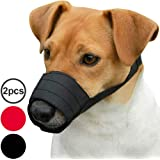 CollarDirect Adjustable Dog Muzzle Small Medium Large Dogs Set 2PCS Soft Breathable Nylon Mask Safety Dog Mouth Cover Anti Biting Barking Pet Muzzles Dogs Black Red