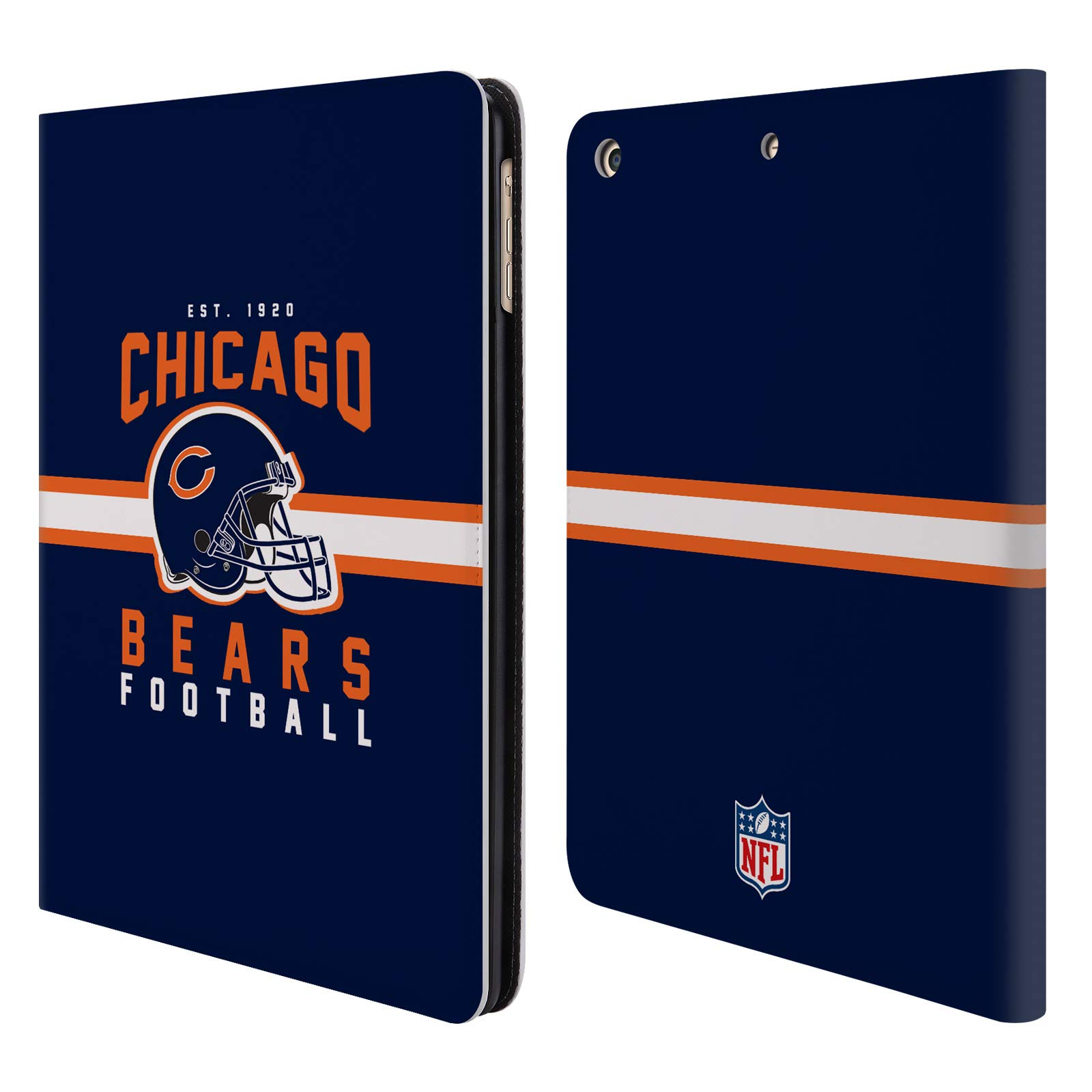 Official NFL Helmet Typography 2018/19 Chicago Bears Leather Book Wallet Case Cover for iPad Air (2013)