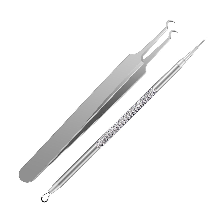 Herramienta de extracción de comedones y espinillas Pink Remover Pintple, kit de pinzas quirúrgicas profesionales, herramienta de eliminación de acné, tratamiento para defectos, Whitehead Popping - 2 paquetes IBEET