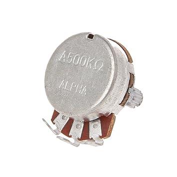 A500K - Potenciómetro para guitarra eléctrica, efecto amplificador de graves, volumen de 15 mm, piezas de 24 mm de diámetro: Amazon.es: Hogar