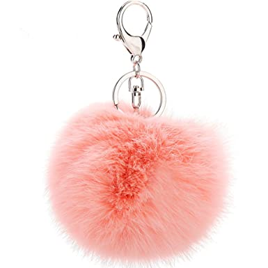 Cinoyoni Silver Ring Faux Fox Fur Pom Pom Keychain Bag Purse Charm Fluffy  Fur Ball (Light pink)  Amazon.co.uk  Clothing 1e70645d3