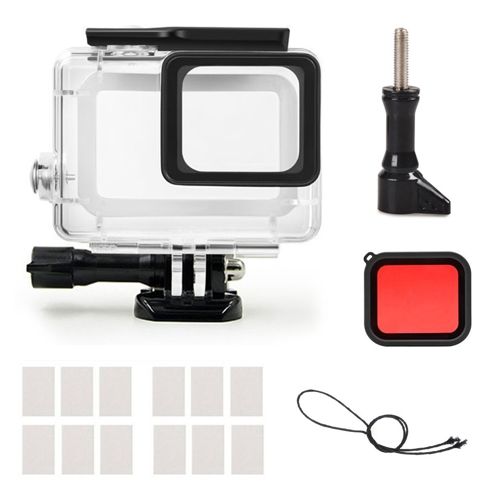 MyArmor New Replacement Waterproof Dive Housing Protective Case Cover Diving Underwater with Quick Release Mount Screw + Red Filter + Anti-fog Insert for GoPro Hero 5