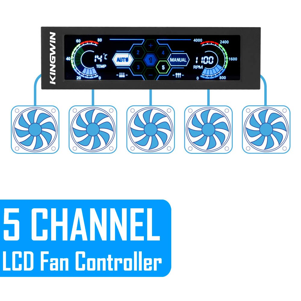 Controls up to 5 Sets of PC Computer Fans Easy Setup and Easy Control of Your Cooling Fans Kingwin 5 Channel Fan Controller w//Individual LED Independent Channel Slider and Fits 5.25 Inch Bay