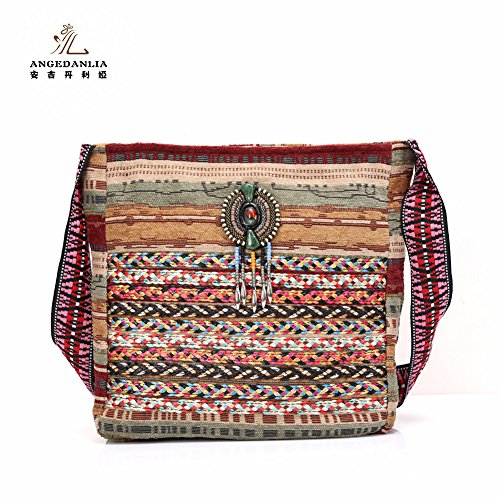 Hippie Handmade Bag – Angedanlia Boho Embroidered Purse, Thai Chic Sling Crossbody Bag Bohemian Shoulder Bag 3717 (Coffee)