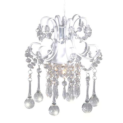 buy popular 20a68 bd04e Surpars House Mini Style Crystal Chandelier Pendant Light, White,1-Light