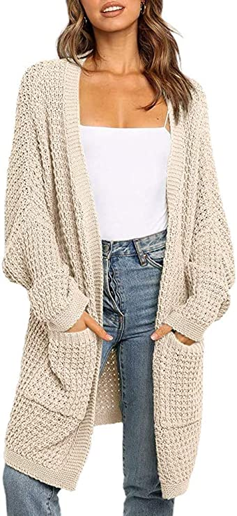 Vetinee Womens Open Front Cable Knit Long Sleeve Buttons Pocket Cardigan Sweaters